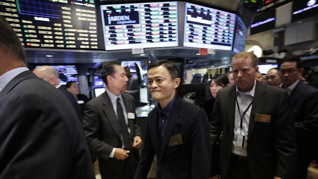 Alibabas grundare Jack Ma på börsgolvet.