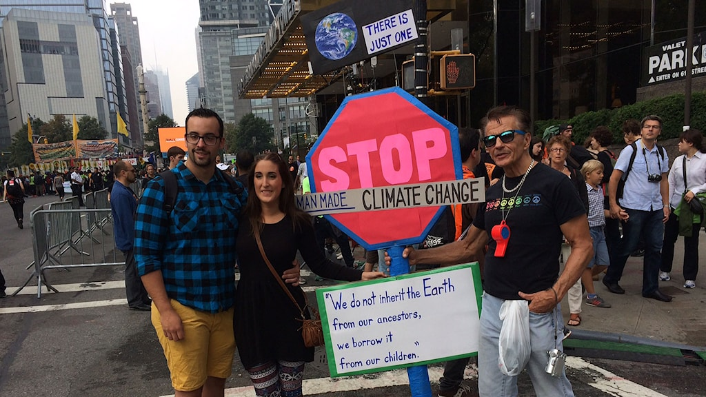 Deltagare i klimatdemonstrationen i New York. Foto: Sveriges Radio
