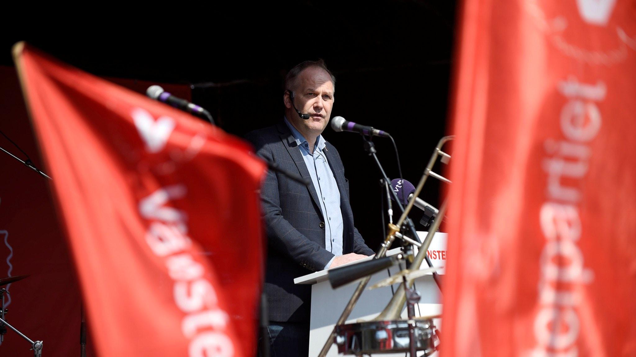 Vänsterpartiets ledare Jonas Sjöstedt talade i Malmö. Foto: Björn Lindgren/TT