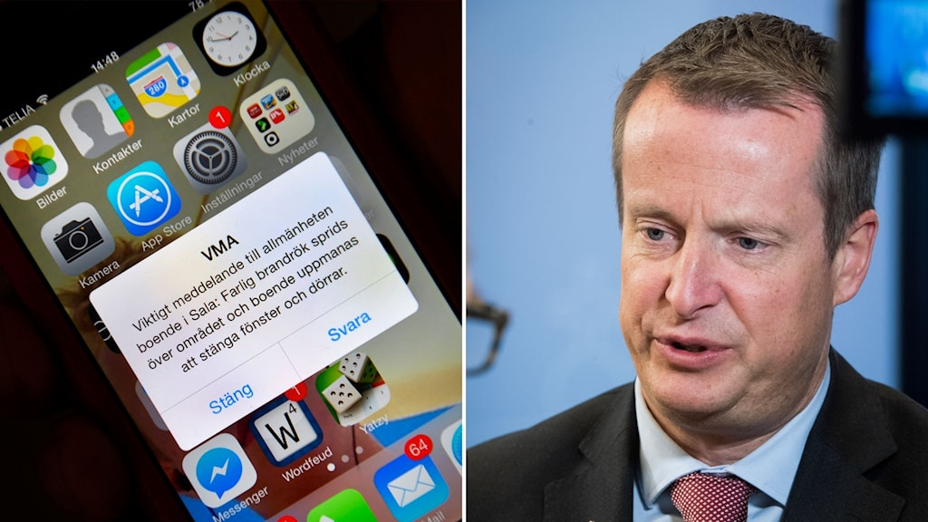 Delad bild: telefon med ett varningsmeddelande, Anders Ygeman