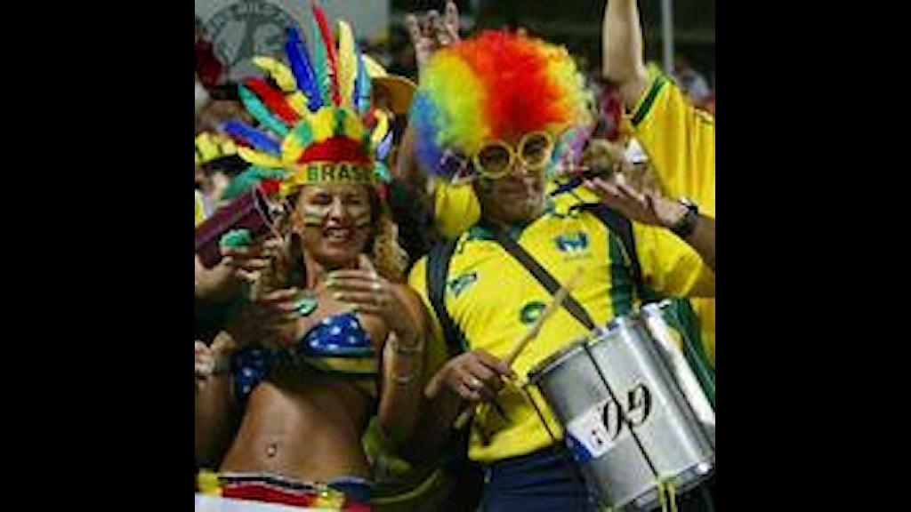 Brasilianska fotbollsfans från VM 2002. Foto: Pressens Bild