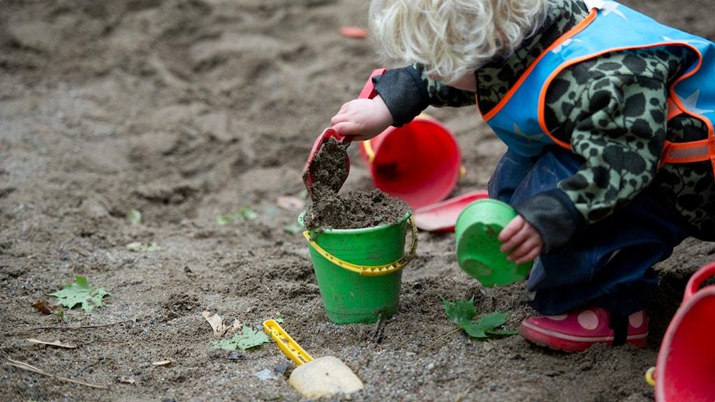 Litet barn leker i en sandlåda. Foto: Fredrik Sandberg/TT.