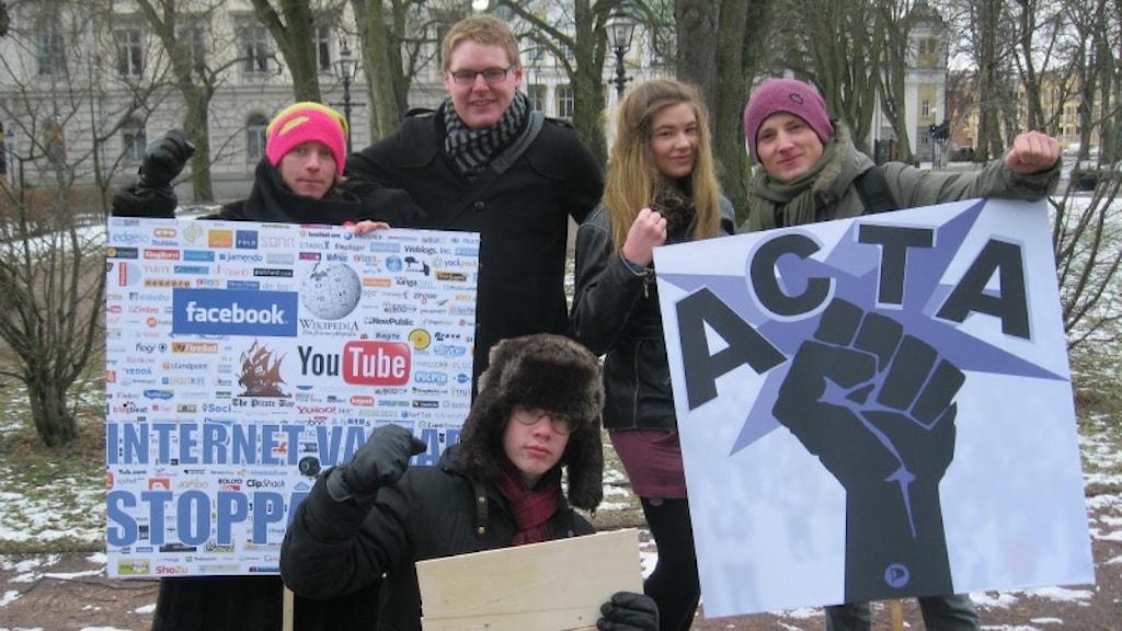 Demonstration i Jönköping. Foto: Eddie Windborg, Sveriges Radio