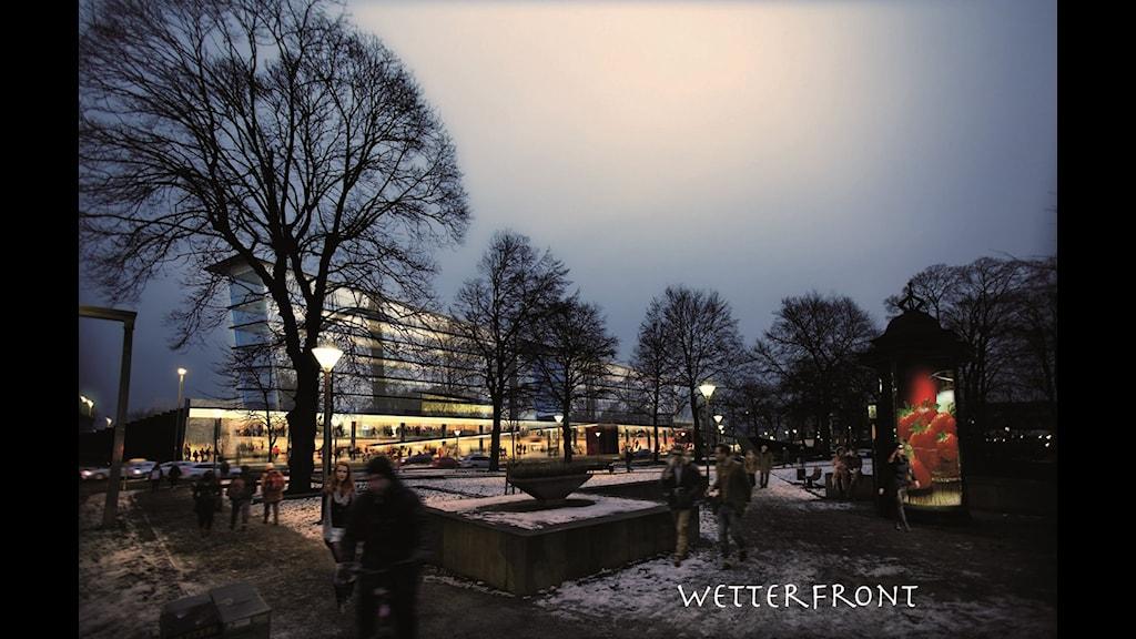 Så här kan Jönköping se ut i framtiden. Ilustration: Bengt Noorlander/Arkitekthuset
