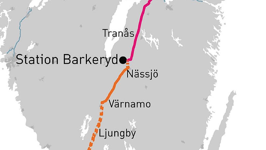 En karta där man ser hur Sydvästlänken kommer vara. Foto: Svenska Kraftnät.