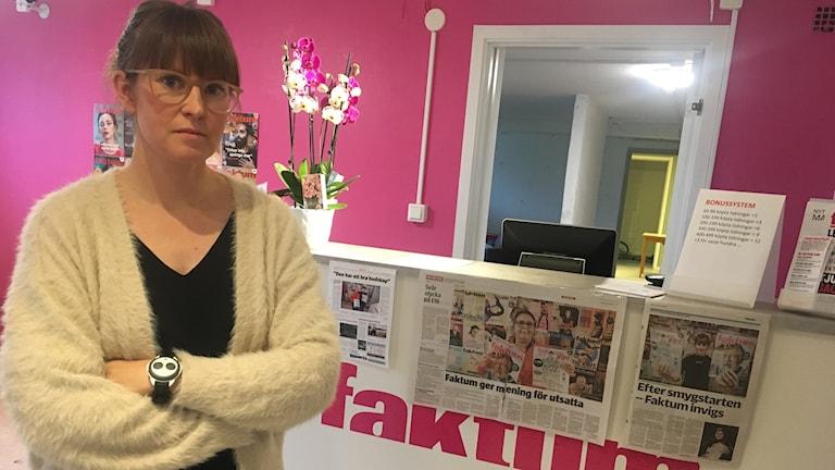 Mia Larsson på Faktums nyöppnade kontor i Karlstad...
