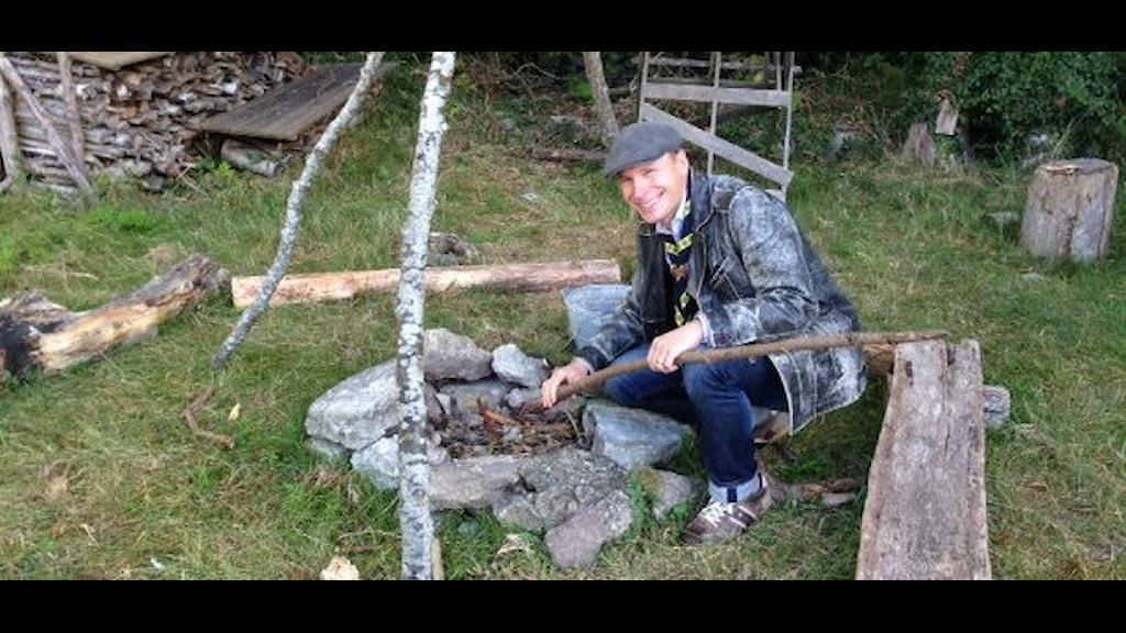 Stefan Nilsson som vill utveckla scoutrörelsen på Gotland. Foto: Håkan Erlandsson/Sveriges Radio