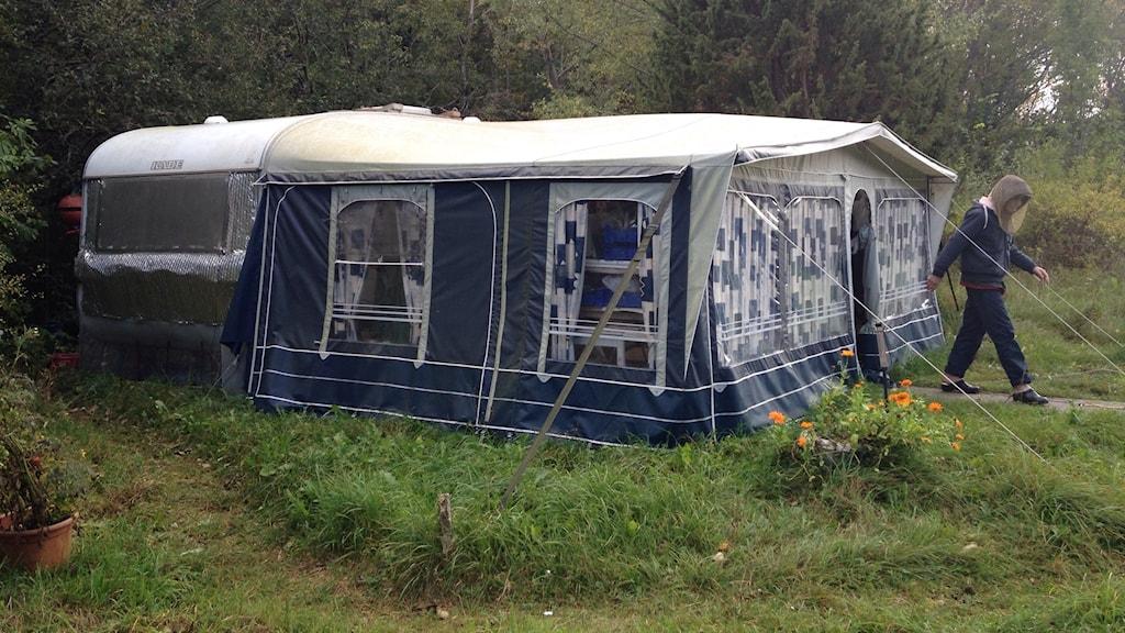 Bild från Sveries Radio på Erics husvagn