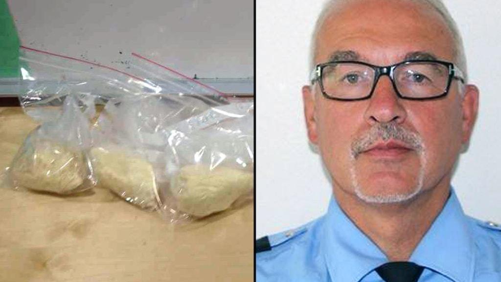 Fr.v: påsar med beslagtaget amfetamin, och polisenhetschef Jan Hellnevi i Alingsås. Foto: polisen.