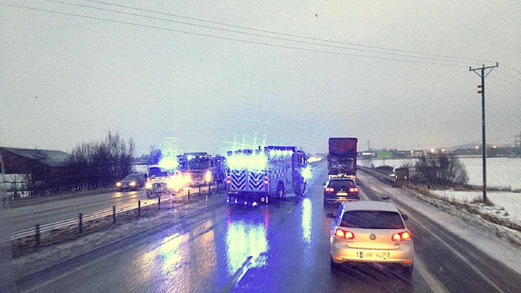 På E4:an mellan Helsingborg och Örkelljunga, mellan Hyllinge och Åstorp inträffade en av morgonens trafikolyckor.