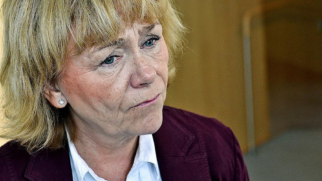 Justitieminister Beatrice Ask fick svara på frågor om polisens registrering av romer vid riksdagens frågestund på torsdagen. Foto: Anders Wiklund/Scanpix