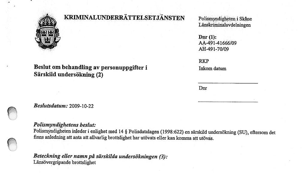 En bild av det beslutsdokument som ger Skånepolisen möjlighet att registrera romer.