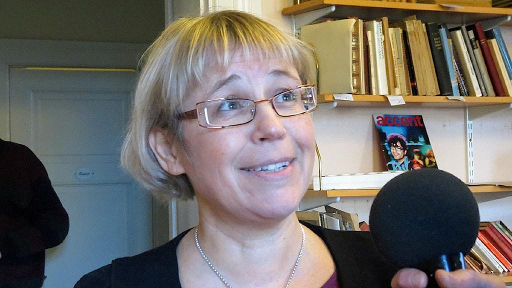 Eva Lenander, intenstivvårdssjuksköterska i Lund och ordförande i föreningen Vårdpartiet i Skåne. Foto: Josefin Patzauer/Sveriges Radio