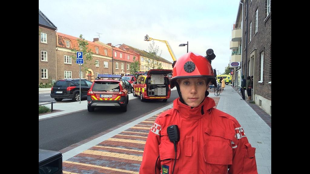 Räddningsledare Helsingborg Emma Nordwall.Foto:Anton Kalm/Sveriges Radio