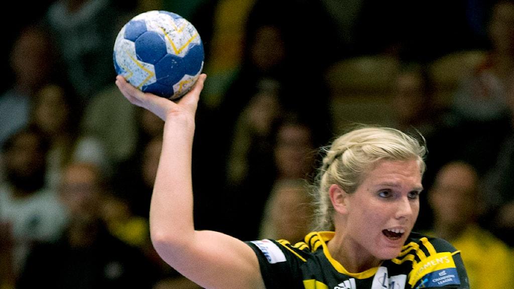 Sävehofs Jenny Alm, sjumålsskytt mot Team Eslöv. Foto: Adam Ihse/TT