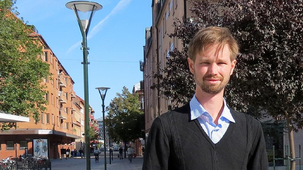 Rasmus Ling från Malmö ser ut att komma in i riksdagen för Miljöpartiet. Foto: Felicia Frithiof/Sveriges Radio