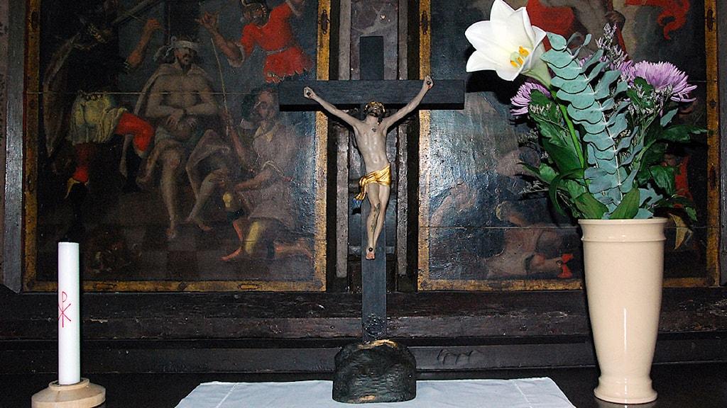 Det stulna krucifixet är nu tillbaka i Mariakyrkan i Ystad. Foto: Jenny Wollin/Svenska kyrkanDet stulna krucifixet är nu tillbaka i Mariakyrkan i Ystad. Foto: Jenny Wollin/Svenska kyrkan