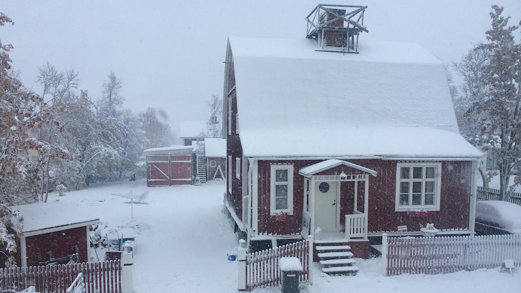 Snö i Kiruna. Foto: Linnea Luttu/Sveriges Radio